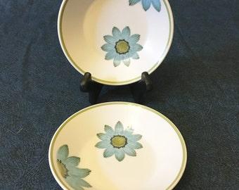 Vintage Noritake Progression Up Sa Daisy Dessert Bowls, Fruit Bowls, Set of 2, Mid Century Dishes, Retro Blue Daisy Dishes