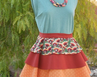Thanksgiving apron turkey skirt with 2 layers fall short