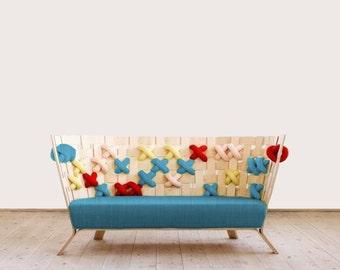 Charlotte: 2 or 3 seat - Solid wood (oak , pine, walnut) frame