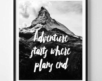 Adventure starts, Adventure print, Travel quote, Mountains, Nature, Digital art, Printable art, Digital Instant Download 8x10, 11x14, 16x20