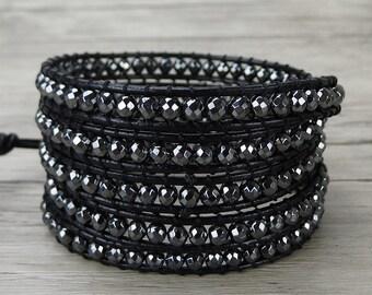Hematite bead bracelet black wrap bracelet metalic bead bracelet boho wrap bracelet yoga bead bracelet leather wrap bracelet Jewelry SL-0267