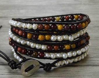 Mookaite and Pearl wrap bracelet beaded wrap bracelet Real pearl bracelet Boho bead bracelet yoga wrap bracelet bohemian jewelry SL-0398