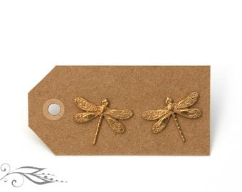 Dragonflies - hand-soldered studs 17x14mm made of brass and stainless steel