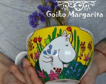 Moomin mug Moomin Troll Unique tea mug Big mug Moomins Personalized mug Handpainted mug Custom mug Useful gift Gift for her