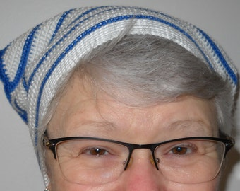 Scarf - blue and white headband. To protect our heads warm sunshine. Made of 100% cotton.