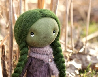 ooak art doll Mentha from Southernwood, ooak forest doll cloth, miniature cloth doll, forest fairies, miniature ooak fabric art doll kodama