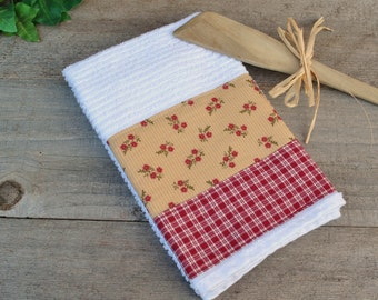 Floral Print and Burgundy Plaid, Fabric Trimmed Bar Mop Dish Towel