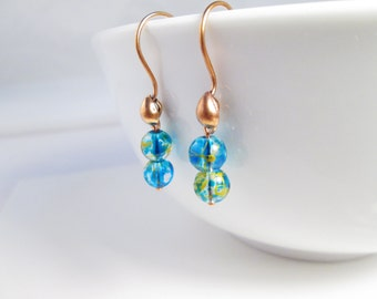 Earth Drop Earrings, Planet Jewelry, Blue Dangle Earrings, Casual Accessories, Handmade Jewelry, Gift under 20