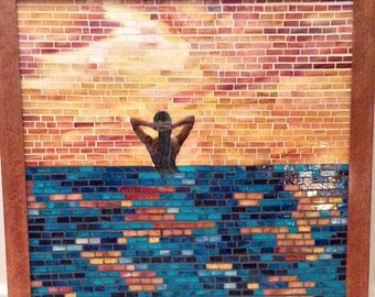 Girl in the Ocean Stained Glass Mosaic