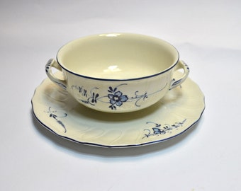 Villeroy and Boch soup bowl with the plate/ Villeroy and Boch /Vieux Luxembourg/Soup bowl/Soup bowl with the plate/Porcelain soup bowl