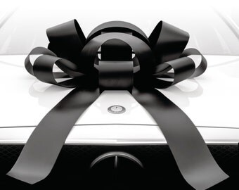 Large Black Car Bow with Magnetic Back (30 Inch JumBow)