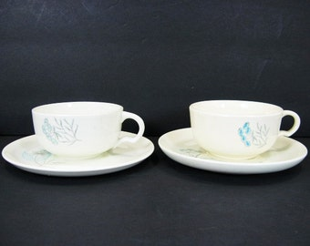 Royal China Stetson Maytime 2 Flat Cup Saucer Sets Light Blue Flowers Gray Stems