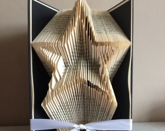 Star Outline Book Folding Pattern - Star folded book art - Unique gift - Unique home decor - Gift for the home - Gift for a friend