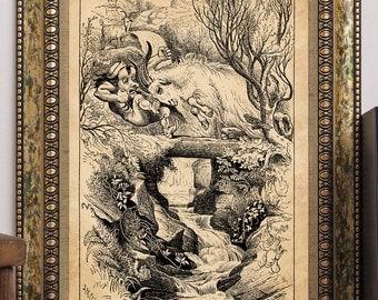 J.M. Corner 1917 Three Billy Goats Gruff Antique Children's Story-Book Fairy-Tale Nursery Rhymes Art Print