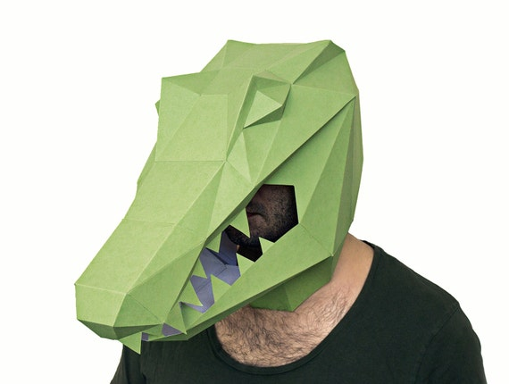 Make your own alligator mask crocodile mask by awesomepatterns for Make your own halloween mask online