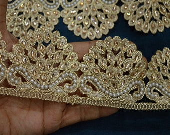 Trim By the yard Decorative Ribbon Costume Trim Metallic Ribbon Beaded Trim Gold Kundan Lace Crafting Sewing Trimmings Indian Sari Border