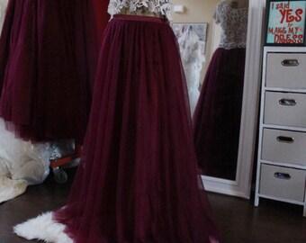 Burgundy tulle skirt | Etsy