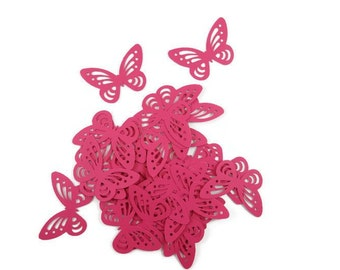 Fuschia Butterfly Confetti, Table Decor, Paper Butterflies, Party Decor, card making, Butterfly cake decor, Baby Shower Decor