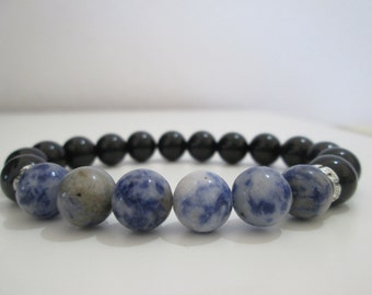 Bracelet for man, Onyx and Sodalite, semi-precious stones, bracelet bracelet style Greek, gift, gift for man, Onyx and Sodalite