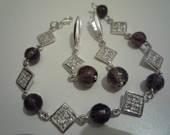 Set with faceted smoky quartz 925 sterling silver