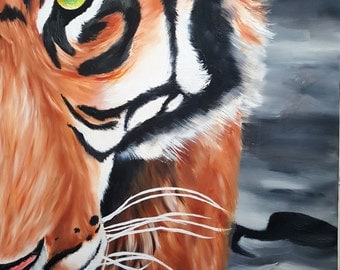 """Tiger Oil Painting, 36 x 24"""""""