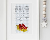 The Wizard Of Oz Glinda Dorothy Red Shoes Quote Print Keepsake Picture Wall Art Gift