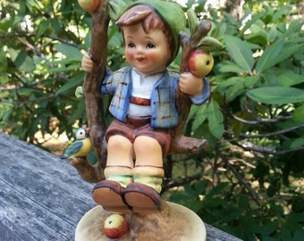 Hummel, Boy Hummel, Boy in Tree, Apple Tree, Vintage Hummel, apple tree boy