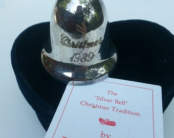 Reed and Barton, Silver Bell, Silverplate Bell, Christmas Bell, 1989 Bell, collectors bell