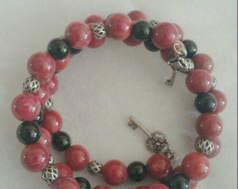 Howlite & obsidian bracelet
