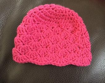 Newborn crocheted beanie, hat, hot pink, baby hat, newborn hat, baby girl hat, baby girl beanie