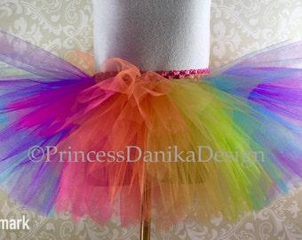 Striped Neon Rainbow Tutu, Circus Tutu, Clown Tutu, Trolls Inspired Tutu, Color Run Tutu, Rave Tutu, Adult Tutu, Running Tutu