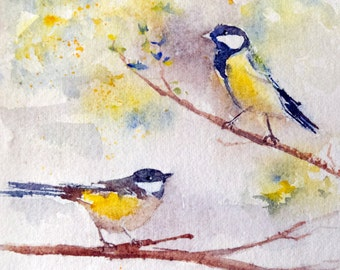Original  watercolor of 2 birds on a tree branch - original painting of chickadees in a tree