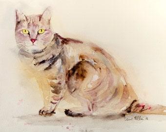 Sitting tabby cat original watercolor - Original painting, Original Watercolour, Watercolor, cat watercolour