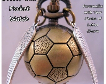 Personalized Soccer Ball Pocket Watch Unisex w/ Necklace Chain or Belt Chain w/ Wings and Letter Charms Vintage Style Soccer Mom Coach Gift