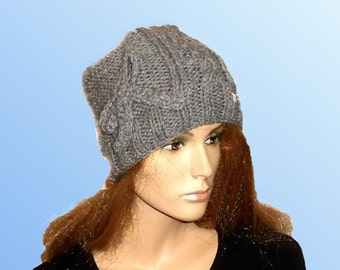 GREY KNITTED HAT. Ladies Ribbed Hat.