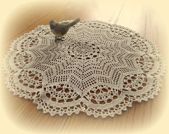 "Crochet Doily in Ecru/Natural--Star Filet with Scalloped Edging--19"" Table Topper--Free Shipping"