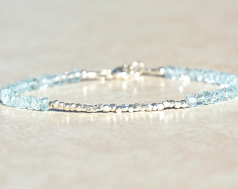 Blue Topaz Bracelet, December Birthstone, Beaded Gemstone Bracelet, Gift for Her, Birthstone Jewelry, Friendship Bracelet, Silver Bracelet