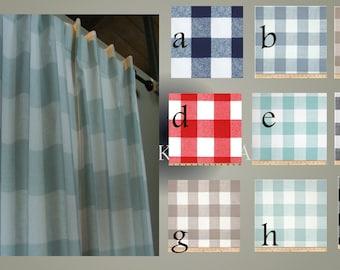 Curtain Panels Buffalo Check Drapery Window Panels  Modern Plaid Drapery Window Treament Pairs Lined
