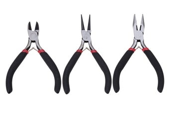 Jewelry and Craft Pliers Tool Kit, 3-Piece Set (Side-Cutting Pliers, Wire-Cutter Pliers and Round Nose Pliers) U.S.A. Seller Fast Shipping