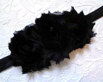 Black Baby Headband, Black Shabby Chic Flower Headband, Baby Hair Accessories. Baby Girls Hair Accessories. Black Flower Headband