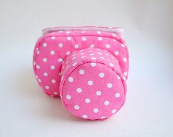 Case for DSLR camera bag cover hot pink polka dot