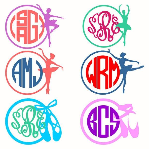 ballerina ballet dance monogram frame cuttable design svg