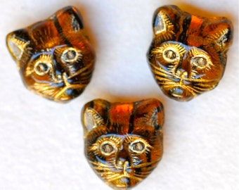 11mm Cat Bead with Horizontal Hole - Czech Glass Cat Beads - Cat's Head Bead - Various Unique Colors - Qty 10
