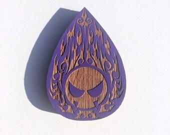 Ghastly Laser engraved 2'' Oak Pin