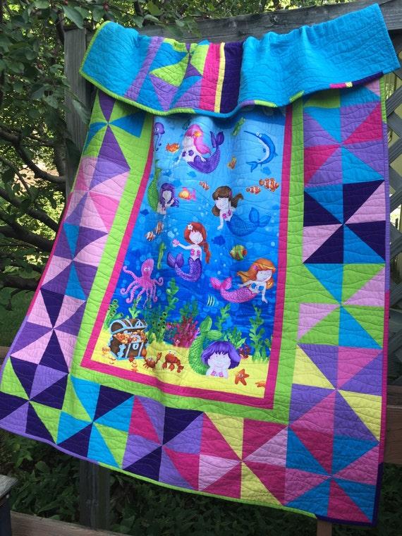 Big Girl Quilt with Little Mermaids by Deborah Edwards for Northcott Fabrics