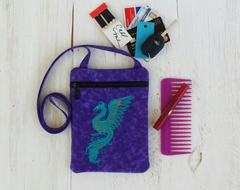 Phoenix Crossbody Bag - Purple Shoulder Bag - Embroidered Purse - Phoenix Bird - iPhone Bag - Small Shoulder Bag - Zipper Bag - Travel Bag