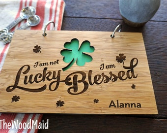 Shamrock Blank Journal Notebook Bridal Shower Gift Lucky Blessed Hostess Gift Custom Notebook Recipes Binder St Patricks Day Good Luck Gifts
