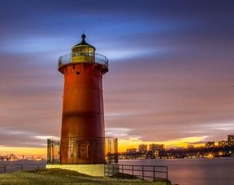 Little Red Lighthouse, fine art print, nyc, long exposure, night shot, New York, New Jersey, Lighthouse photo, wall art