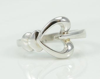 925 Silver Ring With Hearts, Size 6.75, Ladies Ring, high polish finishing