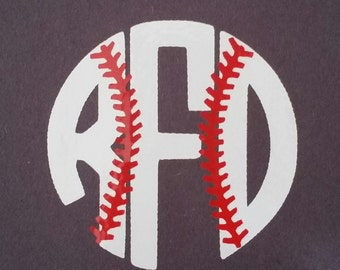 Baseball Monogram Decal, Yeti Decal, Baseball Vinyl Decal, Personalized Vinyl Decal